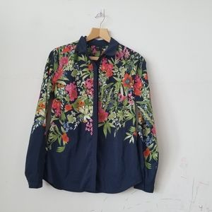 3/$20 ICONE Floral Gorgeous Button Down Top, M